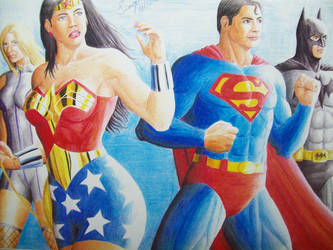 JLA done in color pencil 2005 by SUPERTIAGOF
