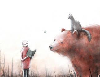 A bear, a man, and a cat. 4