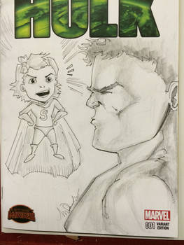 Hulk getting  yelled at by a little girl (Commissi