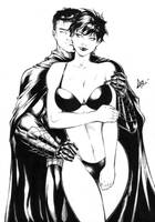 Catwoman and Batman - Commission Ink #1 by CaioMarcus-ART