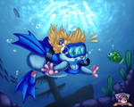 Remi in the Deep, Cool Blue by AmandaDaHamster