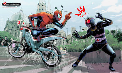 Spiderman vs kamen ride black