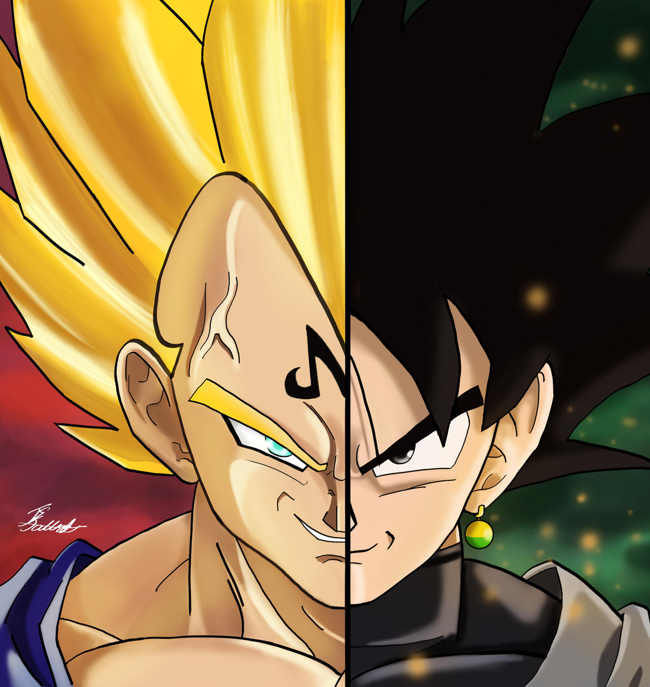 Black Goku And Majin Vegeta By Tsjas On DeviantArt