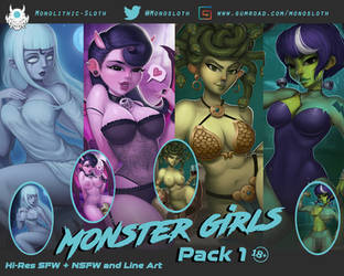 Monster Girls Pack 1 - now available on Gumroad by Monolithic-Sloth