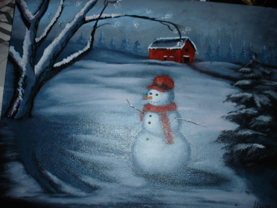 Snowman oil painting by la fairy on deviantart for How to paint snowmen