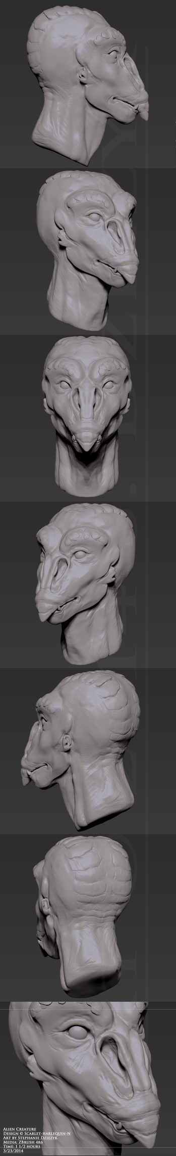 Alien bust by LeccathuFurvicael