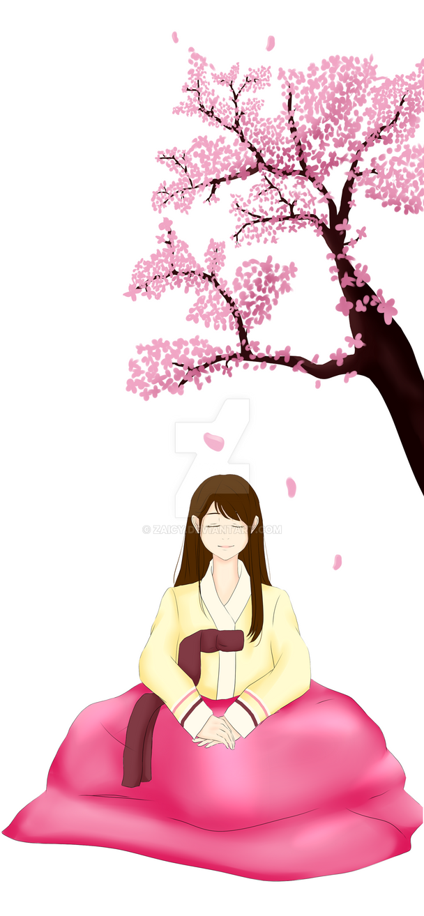 Hanbok under the cherry blossoms by Zaicy