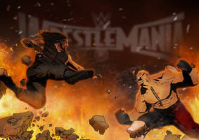 Roman Reigns vs Brock Lesnar - Wrestlemania 31 by sentryJ