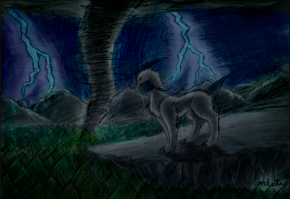The master of disaster: Absol by mistyandsrperiorsart