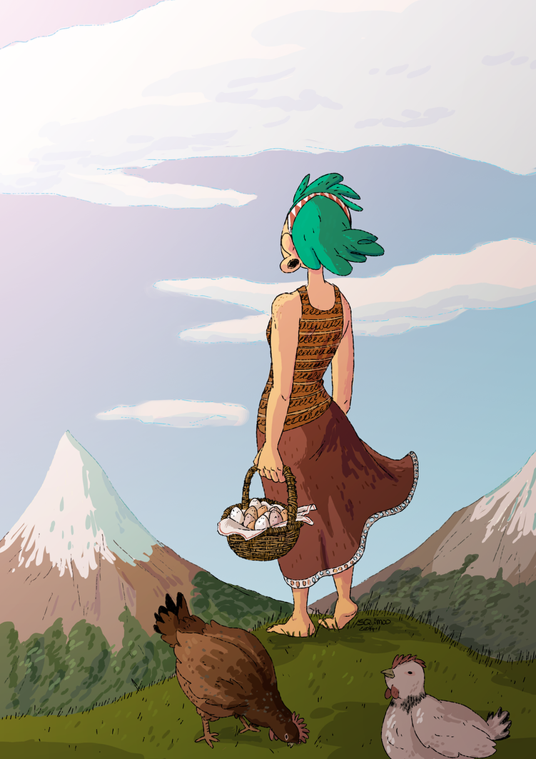 Fern and the chickens by MyHatsEatPeople