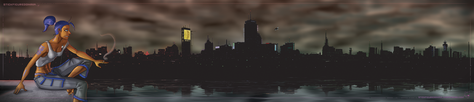 Cyber City Skyline by Stickfigure5000