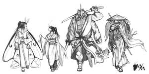 Blade Under Mask Lineup Sketch by WhiteMantisArt