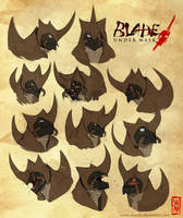 Blade Under Mask: Kurohasu Expressions by WhiteMantisArt