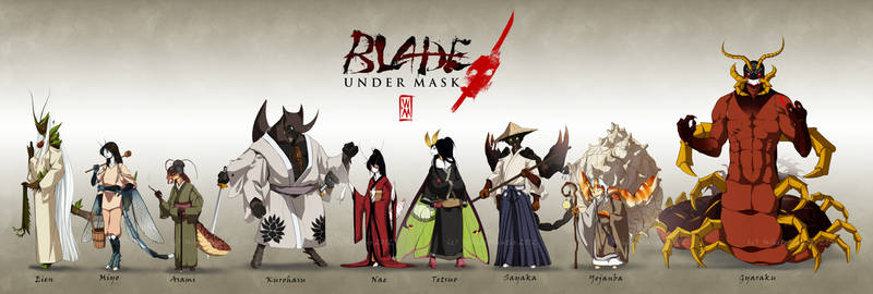 Blade Under Mask: Character Lineup by WhiteMantisArt