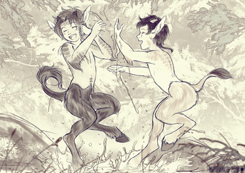 Little Satyr Brothers by WhiteMantisArt