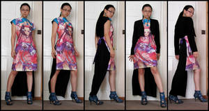Custom printed silk Tunic Dress