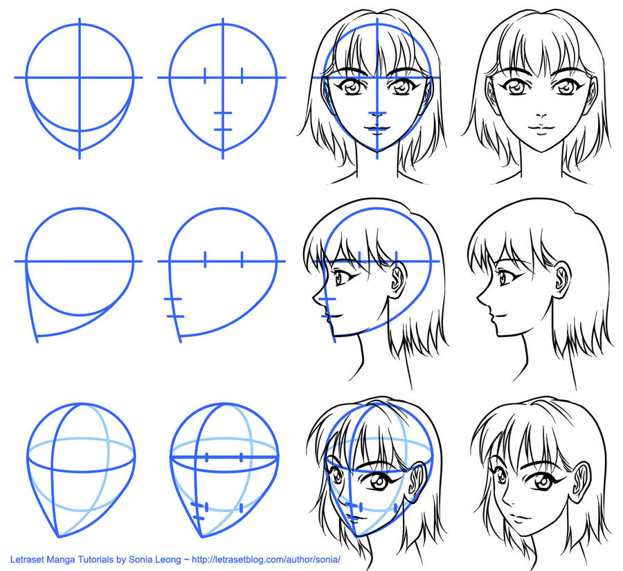 Letraset Manga Tutorials - basic face views by sonialeong