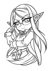 Elven scholar line art FREE FOR PRACTISING COLOURS by sonialeong