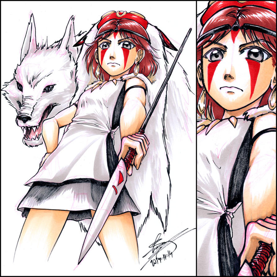 Princess Mononoke sketch commission by sonialeong