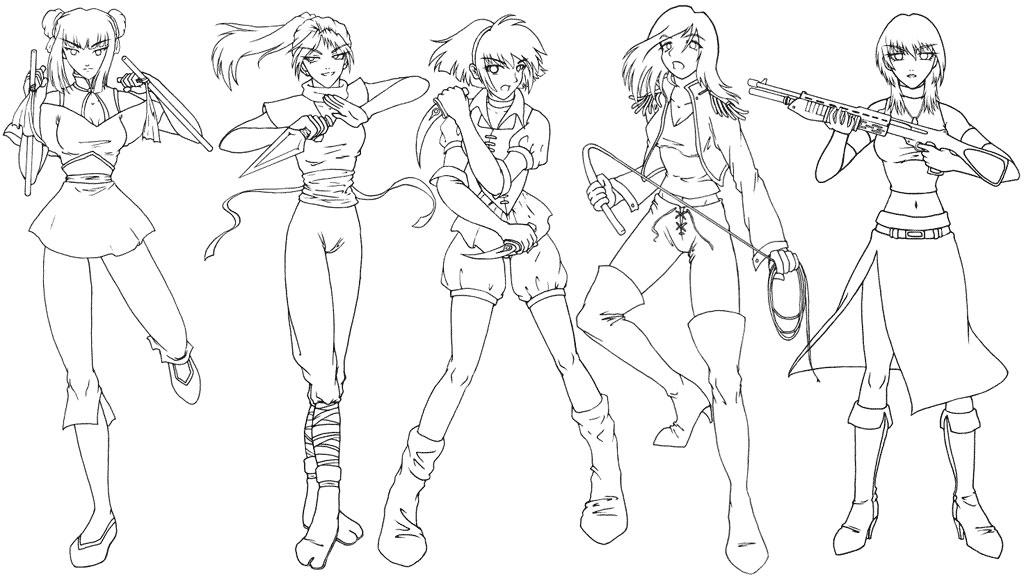 Line Drawing Woman Body : Manga clip art female warriors by sonialeong on deviantart