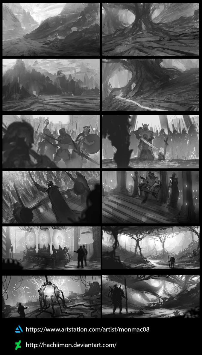 Scene/Environment Conceptual Sketches by Hachiimon
