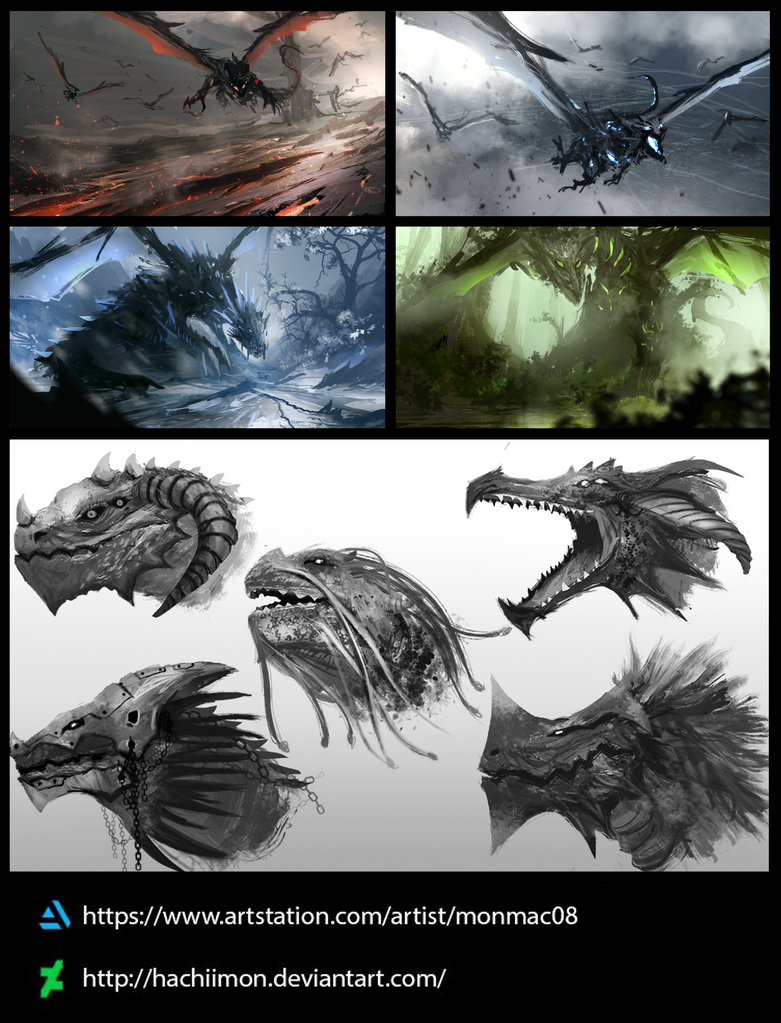 Dragon Concept Studies by Hachiimon