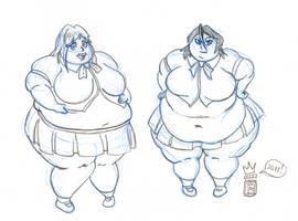 Sketch Comm: Orihime and Rukia by RoyalJellySandwich