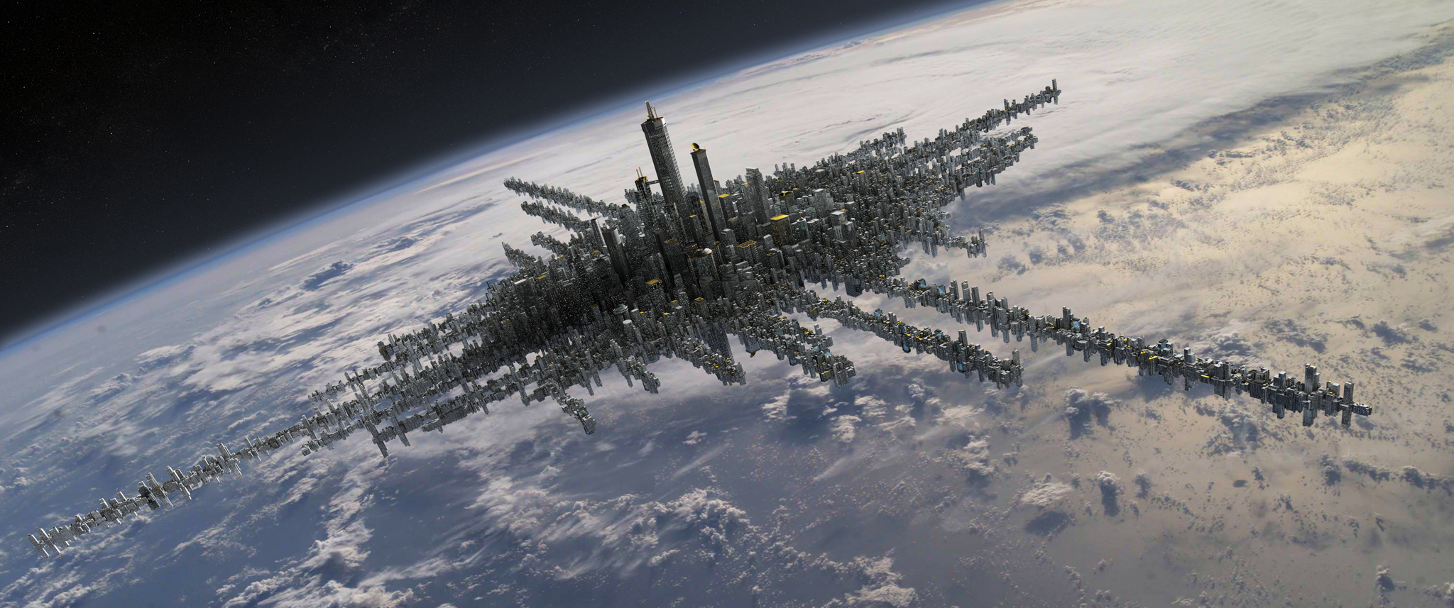 City above the clouds mattepainting org for Space matte painting