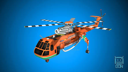 S-64F Skycrane Low Poly Model for Game