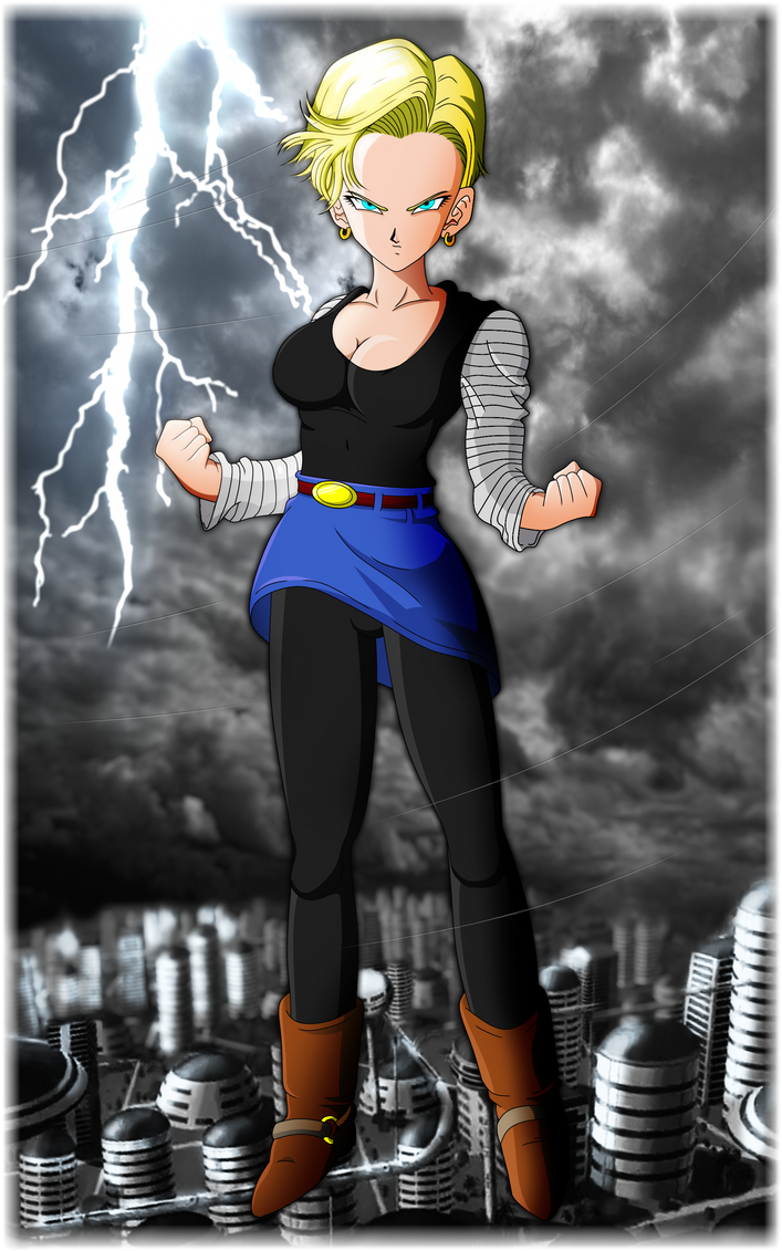 Android 18 dragon ball z short hair w bkground by scottishsocialist on deviantart - Dragon ball zc 18 ...