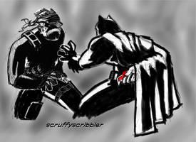 Solid Snake vs Dark Knight request by ScruffyScribbler