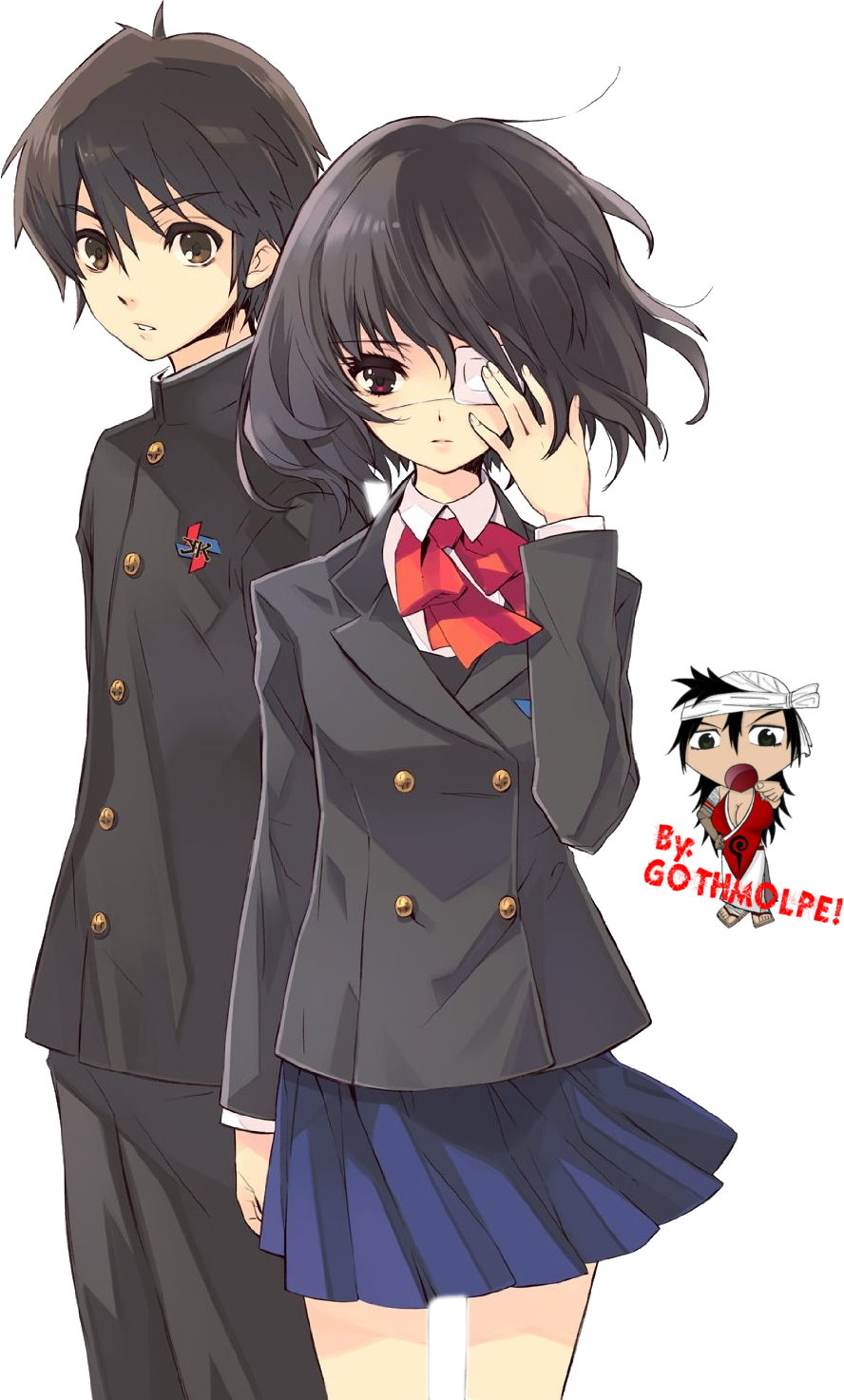 Another - Mei and Kouichi - Render by megamolpeAnother Kouichi And Misaki