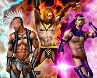 Genderbend X-men: Storm, DarkPhoenix, and Psylocke by Steven-H-Garcia