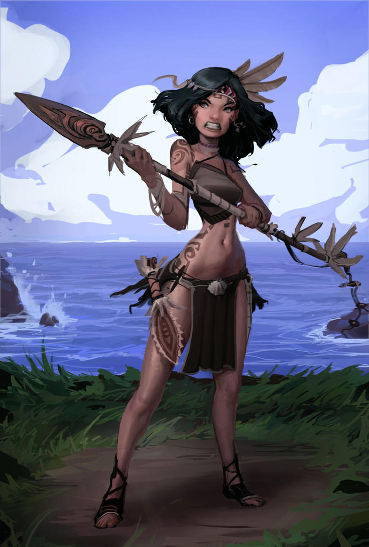 Island Warrior Girl by SoupAndButter