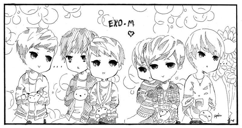 exo coloring pages - exo m chibi doodle by misunderstoodpotato on deviantart