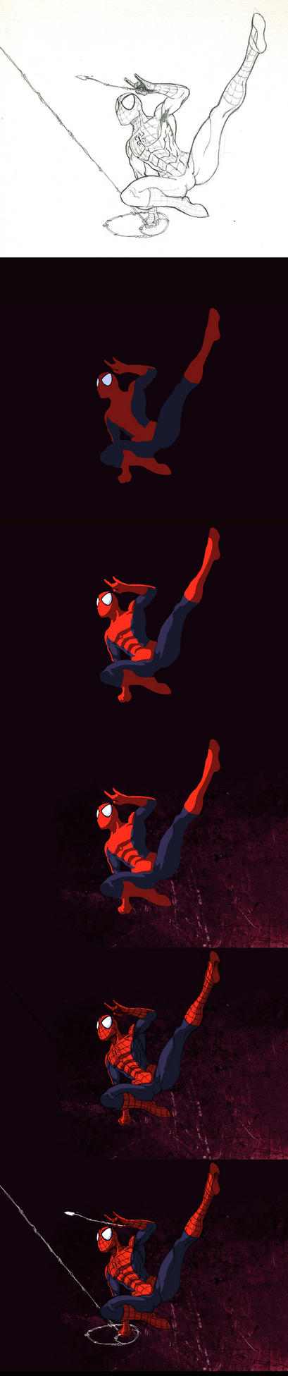 Spiderman colors step by step by Averno7