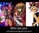 Yusei asks Yugi Jaden and Yuma