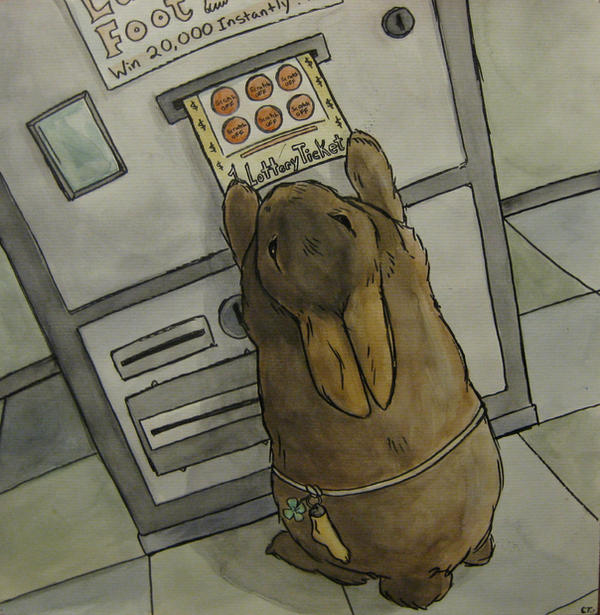 Bunny Playing the Lotto by CarriePotter