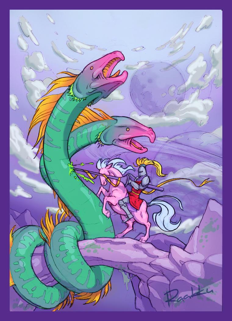 Pink Pony vs Green Dwagon by Raakku