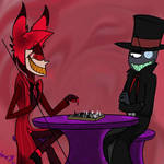 Alastor and Black Hat playing chess
