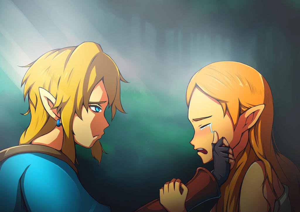 Link and Zelda, Breath of the Wild by Kurogami7