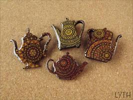 Tea brooches by Lyth