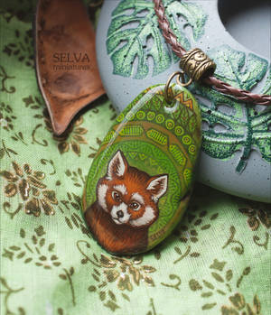 Red panda. Miniature painting necklace