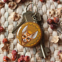 Fennec fox. Keychain with a miniature painting