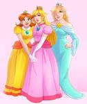 Peach, Rosalina, and Daisy