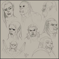 Digital Sketches ~ Orcs by Xelandra