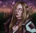 Commission: Warcraft Elf Girl Portrait in Dalaran by RinaRinara