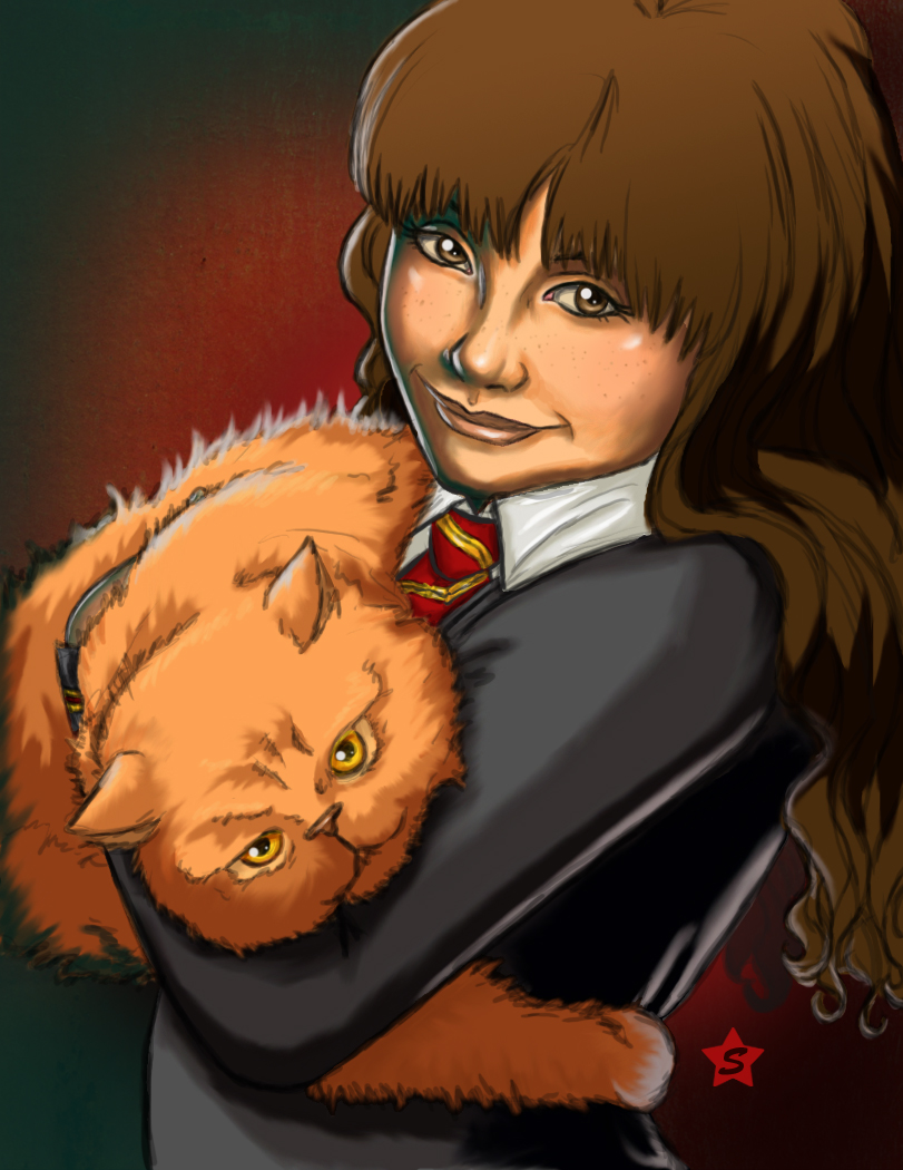 Hermione and Crookshanks by Ederoi