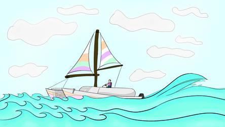 Catamaran on the ocean by ArtsyEric