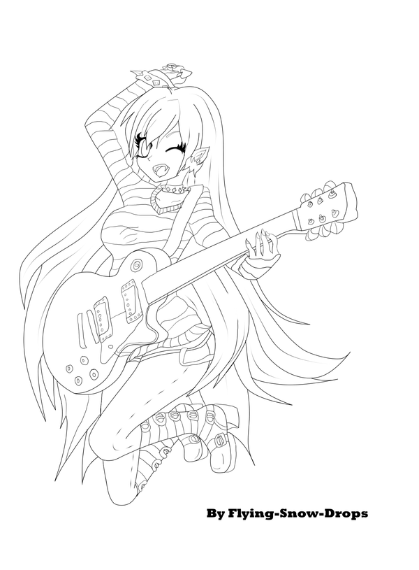 Marceline vamipire queen lineart by flying snow drops on for Marceline coloring pages